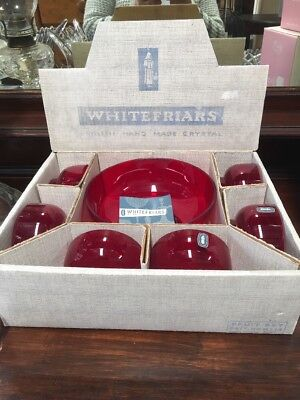 Vintage Whitefriars Hand Made Crystal  Ruby Red Dessert Fruit Set Never Used