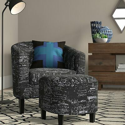 Accent Chair w/ Ottoman Round Arms Curved Back French Print Script, Black