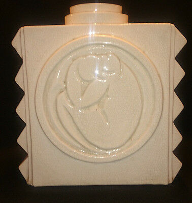 French Clement Art Deco  RARE Cubistic Highly Stylized Crackle Ware Vase 1930s
