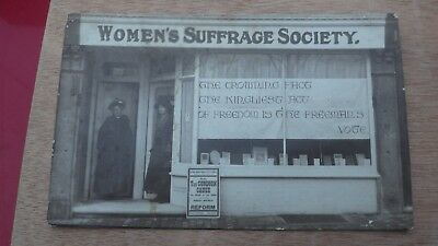 Rare Rp Photographic Postcard Suffrage Society Suffragettes Shop Front Kent