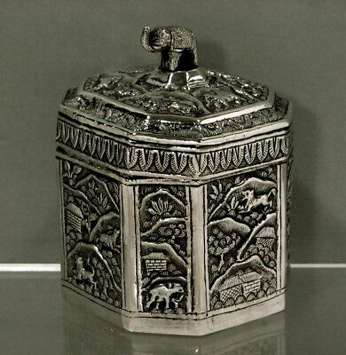 "Indian Silver Tea Caddy       c1890      ""JUNGLE HUNT SCENE""   GOLD INTERIOR"