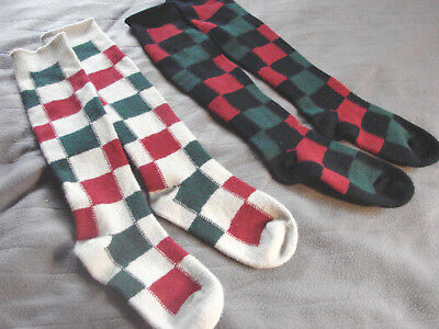 Vintage 60s Knit Knee Socks LOT 2 Orlon CHECK Crazy Quilt Lady Exeter S