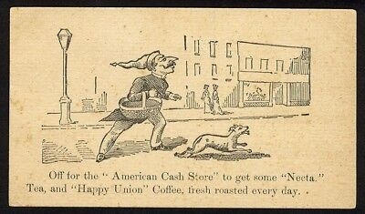 Los Angeles AMERICAN CASH STORE Spring Street VICTORIAN Trade Card 1880's
