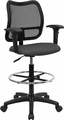 Flash Furniture WL-A277-GY-AD-GG Mid-Back Mesh Drafting Stool with Gray Fabric S