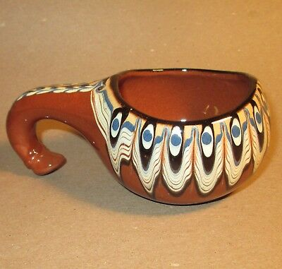 Vintage Bulgarian Troyan Pottery Red Clay Handled Cup Mug Gourd Shaped Blue Yell