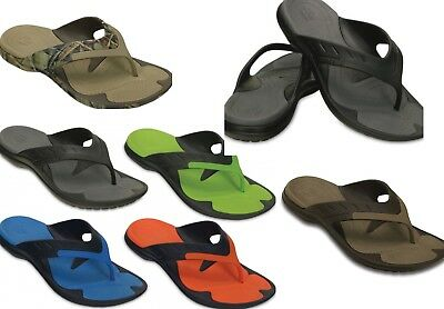 1935114fbff6 CROCS Modi Sport FLIP Flops Sandals Shoes Black Blue Green Camouflage RT  Brown