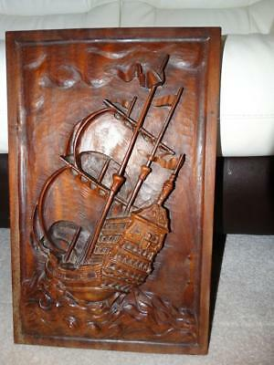 Vintage Heavy Hand Carved Solid Mahogany Sailing Ship Wall Hanging,collectable