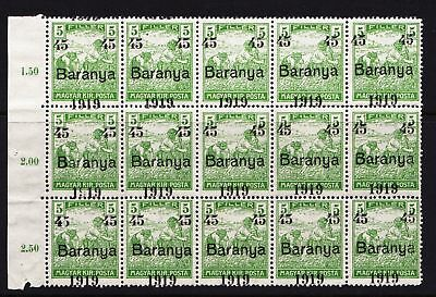 "Hungary 1919 ""Baranya"" Overprint - MNH block of 15 stamps - (320)"