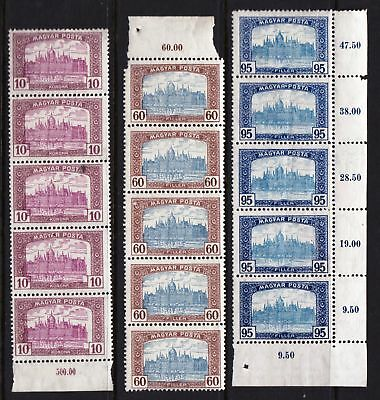 HUNGARY 1919 Parliament Building Budapest - Three MNH strips of 5 - (45)