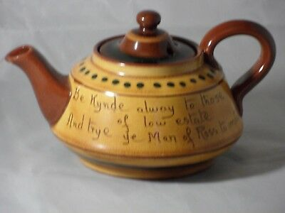 Rare Torquay Pottery Motto Ware Tea Pot Ye Olde Man Ross John Kyrle? Ross-on-Wye