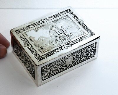 "RARE Original Antique B. WICKER Silverplate French Stamp Box - ""Aux Champs""."