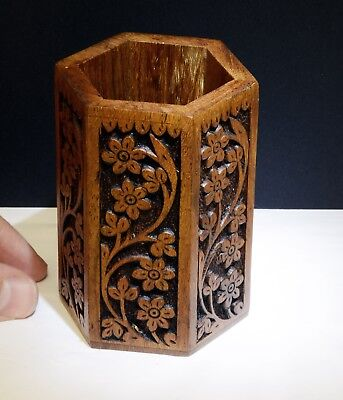 Lovely Hand Carved Hexagonal Wooden Pencil / Pen Pot - 9.5cm Height. Floral