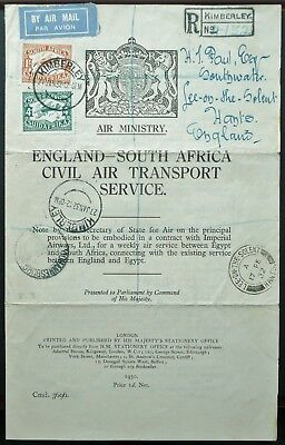 South Africa 1932 Registered Imperial Airways Entire From Kimberley To England