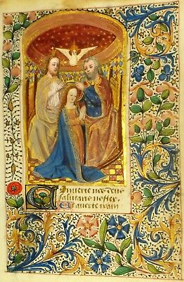 Masterful Illuminated Medieval Miniature,Crowning of Mary,deco.Border,Gold,&