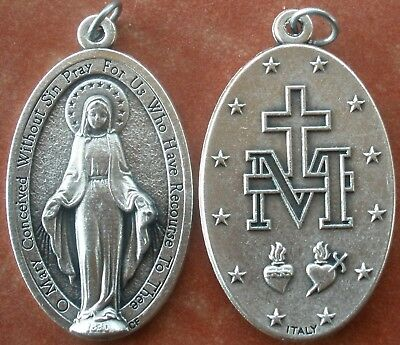 """Large 1-3/4"""" MIRACULOUS MEDAL of the Immaculate Conception Medal + Hail Mary"""