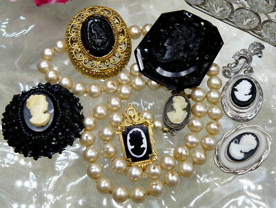 Victorian Vtg Costume Mourning Cameo Jewelry Lot Jet Glass Signed Florenza+Asis