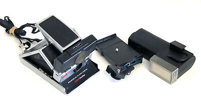 Black Polaroid SX-70 Land Sonar OneStep Camera + Flash/Tripod Mt Very CLEAN/WORK