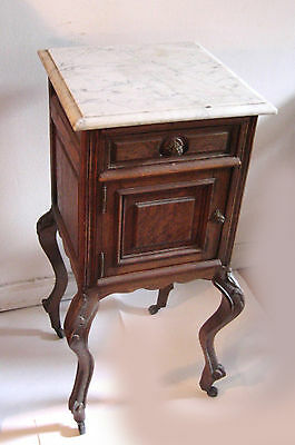 Antique French Night Table Oak Marble