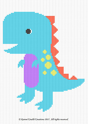 Crochet Patterns -  DRAGON COLORFUL Graph/Chart Baby Afghan PATTERN