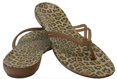 4a356667947f Women's CROCS Isabella Flip Flops Thongs Sandals Shoes Leopard Animal Print