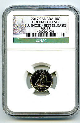 2017 Canada 10 Cent Holiday Dime Ngc Ms68 First Releases Pop Only 8 Cert #001