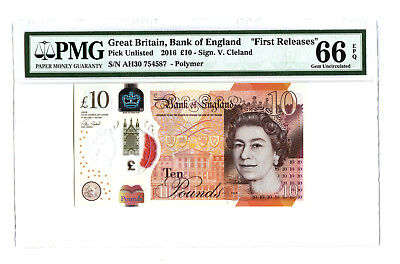 2016 2017 10Pd Great Britain Bank Of England Jane Austen Pmg 66 Epq Banknote Fr