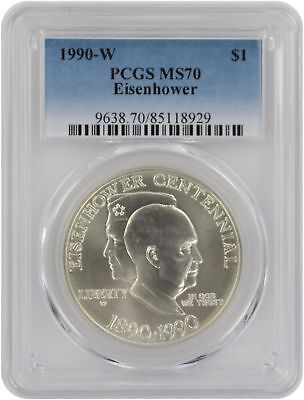 1990-W Eisenhower Silver Commemorative Dollar MS70 PCGS Mint State 70