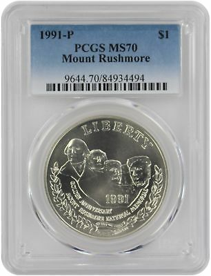 1991-P Mount Rushmore Silver Commemorative Dollar MS70 PCGS Mint State 70