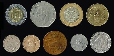 MEXICO:- 9 different mid - late  20th century circulation coins.AP6356
