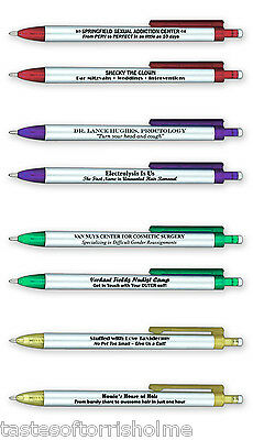 Fred Set of 8 Borrow My Pen Ball Point Pens With Memorable Comic Funny Wording