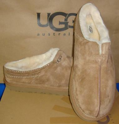 70c793fabdf UGG AUSTRALIA NEUMAN Chestnut Suede Sheepskin Slippers Men Size US 8 NEW  #3234