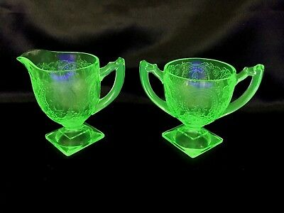 Green Depression #612 Horseshoe Footed Creamer & Open Sugar Indiana Glass
