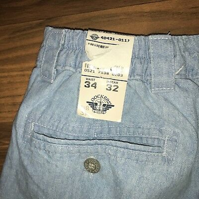 NEW Vtg 80s 90s Mens 34 32 Dockers DENIM Pleated Light Wash Blue Jeans Pants NWT