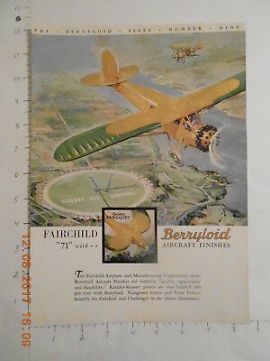 1929 Fairchild Airplane MFG Co Challenger Berryloid finish paint Berry Brothers