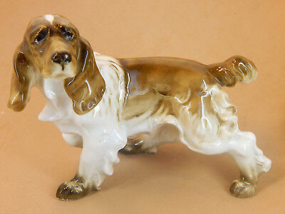 German Hutschenreuther Porcelain male Dog Figurine - Spaniel White & Brown