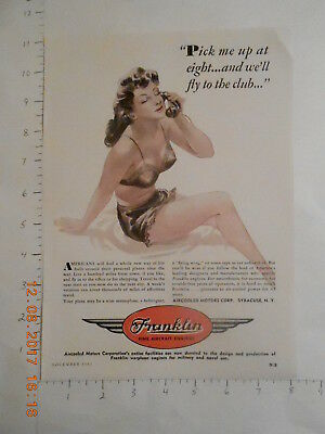 1943 Aircooled Motors Syracuse NY Franklin Aircraft Engine WWII AD sexy lingere