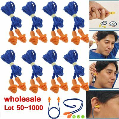 Lot 1000 Pairs Silicone Corded Ear Plugs Reusable Hearing Protection Earplugs SE