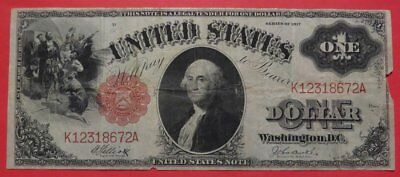 1917 $1 U.S. Legal Tender or United States Note Fine Cond. The Sawhorse Note.