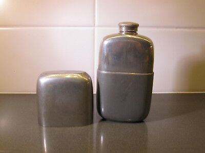 Antique Pewter Hip Flask James Dixon and Sons, Sheffield, Early 1900s England