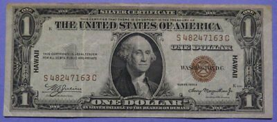 1935 Brown Seal $1.00 Silver Certificate HAWAII Over Print VF Cond. S-C Block.