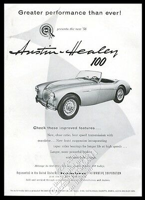 1956 Austin-Healey 100 car photo Greater Performance Than Ever vintage print ad