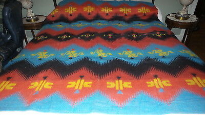 "Vintage Wool CAMP BLANKET, Indian, Southwest Design Motif, 70""x60"""