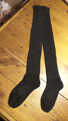"Antique Early 1900's CHILDREN'S BLACK COTTON LONG STOCKINGS Ribbed, 19"" Long"