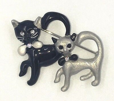 New 2 Cats Pin Black Silver Kitten Bow Swarovski Crystal Jeweled By Rucinni