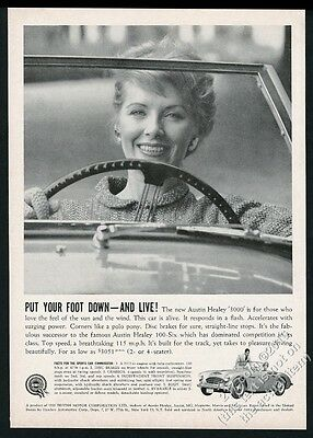 1960 Austin-Healey 3000 2 car woman driver photo vintage print ad