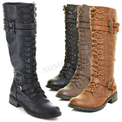 2018 Womens Knee High PU Leather Buckle Riding Military Combat Lace Up Boots
