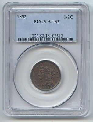 1853 Braided Hair Half Cent, PCGS AU-53