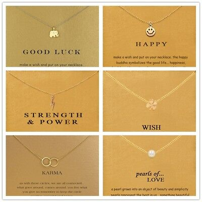 Hot Women Gold Lucky Alloy Clavicle Chain Pendant Short Necklace Jewelry