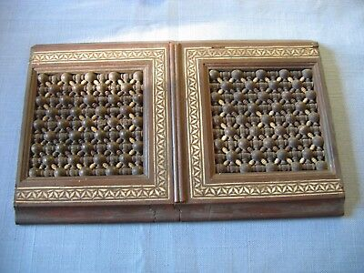 1920s Small Inlaid TURKISH OTTOMAN Pair of Wood Doors from Box