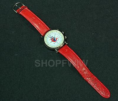 Men's Bristol-Meyers Squibb Sanofi Watch With Red Leather Band 1990s